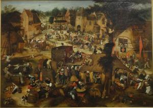 Uitvoering van de klucht 'Een cluyte van Plaeyerwater of van den man diet water haalde' op een Vlaamse kermis