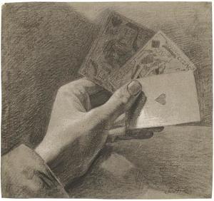 Een linkerhand met drie speelkaarten