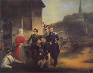 Groep van - uit Overijssel afkomstige - Leidse Jagers tijdens de Tiendaagse Veldtocht voor de herberg 'In de Oranje Appel'