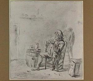 Interieur met zittende, pijprokende boer