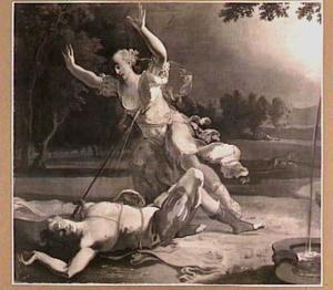 Thisbe stort zich in het zwaard van Pyramus, bij het ontzielde lichaam van haar geliefde