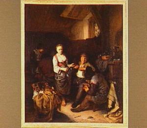 Interieur van een herberg met drinkende boeren en een waardin