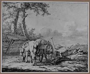 Landschap met paard en slapende boer