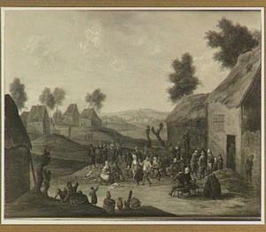 Feestende mensen in een dorp