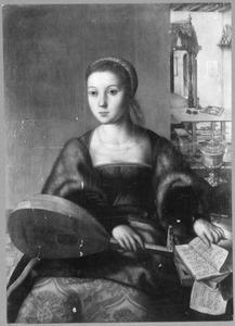 Jonge vrouw met luit en muziekboeken
