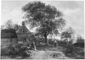 Landschap met wandelaars op een landweg bij een boerenwoning; op de voorgrond twee rustende jagers