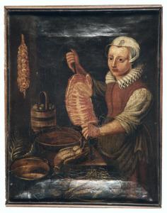Keukenmeid bij het bereiden van voedsel