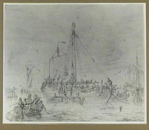 Schepen en roeiboten in een haven