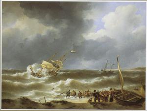 De stranding van de driemaster 'Delphine' bij Zandvoort in 1822