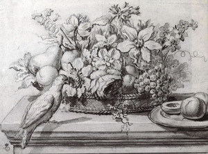Bloemen- en vruchtenmand op een tafel, met een vogel