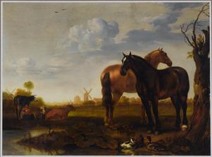 Weidelandschap met twee paarden bij een sloot en een meid die koeien melkt