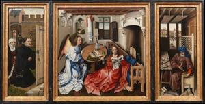 Stichterspaar, met annunciatie en Jozef in zijn timmerwerkplaats