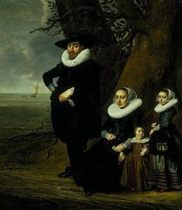 Portret van een familie aan het water