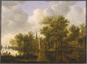 Rivierlandschap met boten en boerderijen op de oever