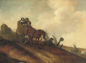 Boerenkar rijdend door een duinlandschap