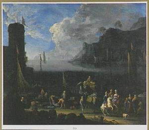 Zuidelijk landschap met havenplaats bij zonsondergang