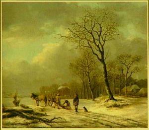 Winterlandschap met houthakkers op een pad