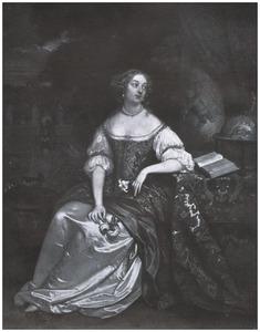 Portret van een vrouw met een lelieen rozen in de handen