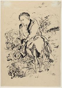 Portret van Amrey (Annemarie Balsiger), zittend in een heidelandschap