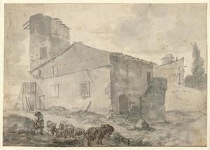 Herder met kudde geiten voor een huis met een toren (verso: schetsen van een zuidelijk landschap en een Romeinse graftombe)