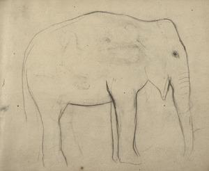 Schetsboekblad met olifant en profil
