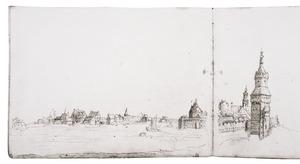 Antwerpen met de Schelde en rechts de Sint-Michielsabdij en de Kronenburgtoren