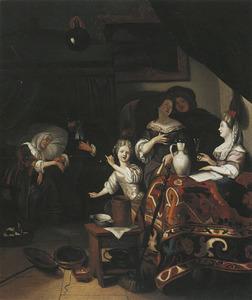 Interieur met figuren rond een tafel, links een dokter die een vrouw de pols voelt