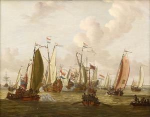 Het schijngevecht op het IJ voor Amsterdam ter ere van tsaar Peter de Grote, 1 september 1697