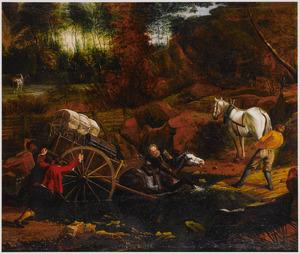 Landschap met een doorwaadbare plaats; boeren proberen een vastzittende wagen los te trekken
