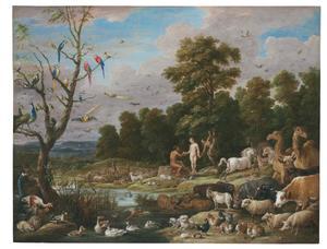 Landschap met de Zondeval: Eva biedt Adam het fruit aan  (Genesis 3:6)