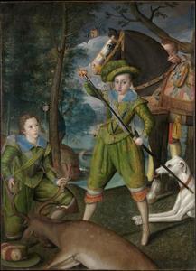 Dubbelportret van Henry Stuart, Prince of Wales (1594-1612) met Sir John Harington (1592-1614) tijdens de jacht, met een dienaar
