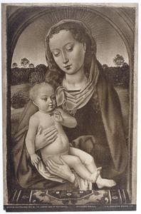 Maria en kind onder een boogvenster