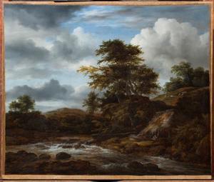 Bebost heuvellandschap met een kleine waterval, met mogelijk de Heilige Familie op de vlucht naar Egypte