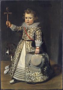 Portret van een jongen met een hond en een vogel