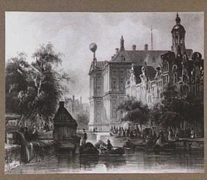 Gezigt van de Bloemmarkt op de Pijpenmarkt en het Paleis van achteren, links op den voorgrond het Kruijershuisje tegenover de Wijdesteeg, te Amsterdam