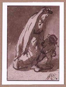 Lopende vrouw met kind