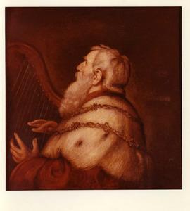 Koning David speelt de harp