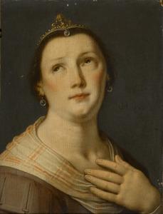 Portret van een vrouw, opkijkend naar links, à l'antique met een pareldiadeem in het haar