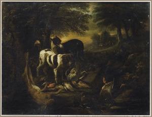 Twee honden bij jachtbuit van haas en gevogelte, een jager in de achtergrond