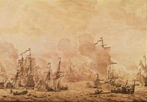 Episode uit de Slag op het Sont, 8 november 1658; algemeen overzicht van het einde van de zeeslag met van links naar rechts de 'Morgenstjarna', de 'Pelikan', de 'Breda', de 'Zon, de 'Halve Maen', de 'Krona', de 'Eendraght' en de 'Viktoria'