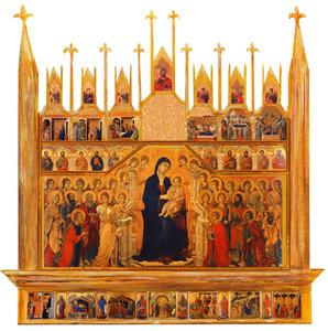 Veelluik met de Maria met Kind tussen engelen en heiligen