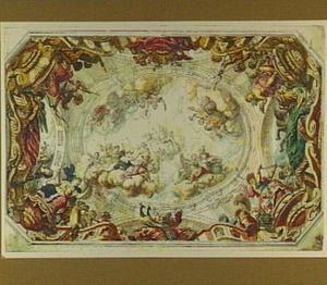 Plafondontwerp met allegorieën op de vier werelddelen, in de lucht Apollo met de muzen