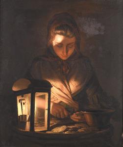 Een jonge vrouw die oesters opent bij het licht van een olielamp