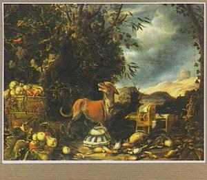 Hond bij buit van gevogelte,  vruchten en een  vogelkooi in een landschap