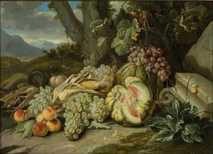 Stilleven van vruchten in een landschap