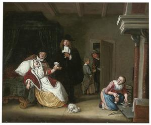 Interieur met een lijdende jonge vrouw, die door de dokter de pols opgenomen wordt