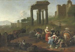 Zuidelijk landschap met marktkooplui voor antieke ruïnes