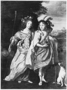 Portret van twee kinderen, gekleed als herderin en jager