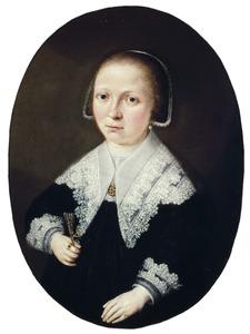 Portret van de echtgenote van Pieter van Verhee (??), koopman te Vlissingen, op zesentwintig-jarige leeftijd