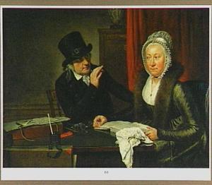 Portret van een man en een vrouw gezeten aan een tafel